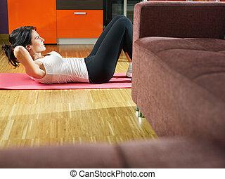 여자, 함, abs, 운동, 집의