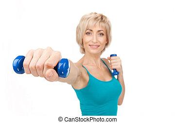여자, 허리, 연습, 위로의, 클로우즈업, 블론드인 사람, 을 사용하여, dumbbells., 노인들,...