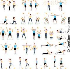 여자, 호기성 운동, 벡터, 적당, exercises., 남자, illustrations.