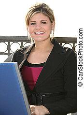 여자, 휴대용 퍼스널 컴퓨터, 공원