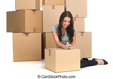 여자, flat., 움직임, 중앙의, 나이 적은 편의, 동안, 아파트, 상자, 성인, 동안에, 새로운, 이동, 미소, 쓰기, 행복하다