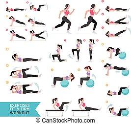 여자, illustration., 호기성 운동, 벡터, 적당, exercises.