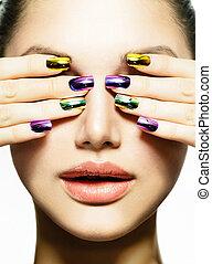 여자, make-up., 아름다움, 손톱, 손톱, 매니큐어, 다채로운, art.