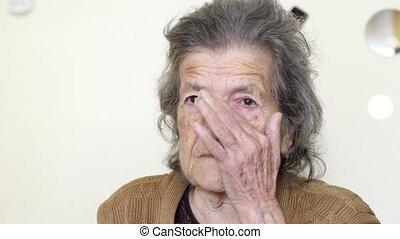 """여자, """"old, face"""", 슬픔, 그녀, 외치는"""