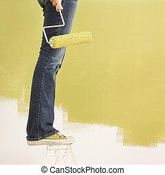 여자, painting.