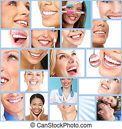 여자, smile., 행복하다