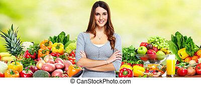 여자, vegetables., 과일
