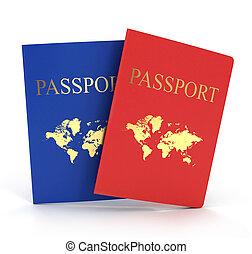 여행 문서, 백색 위에서, backgroun
