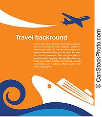 여행, -, 비행기, 배경, 순항