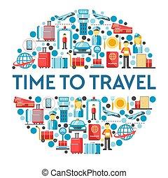 여행, 아이콘, 공항, 고립된, 직원, 공기, 장비, 비행