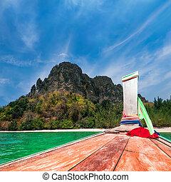 여행, 에, 타이, 전통적인, boat., 타이, 열대 바닷가, 조경술을 써서 녹화하다