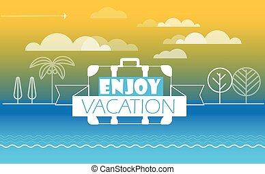 여행, 여름, 계절, 벡터, illustration., 개념