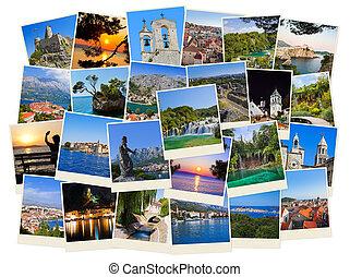 여행, 크로아티아, 사진, 스택