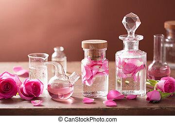 연금술, 와..., aromatherapy, 세트, 와, 장미, 꽃, 와..., 플라스크