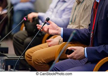 연설자, 에, a, 영업 회의