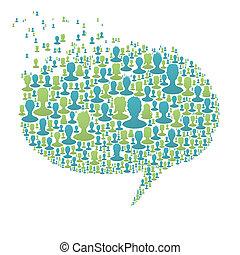 연설 거품, 구성된다, 에서, 많은, 사람, silhouettes., 친목회, 네트워크, 개념, 벡터, eps8
