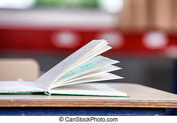 연습장, 통하고 있는, 그만큼, 책상, 에서, a, 원색, 교실