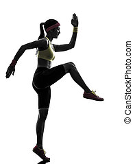 연습, 여자, 실루엣, 운동시키는 것, 적당