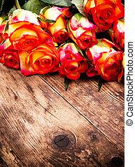 연인 날, 배경, 와, roses.