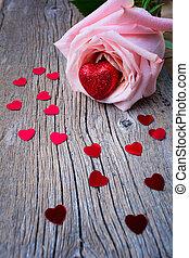 연인 날, 상징, 분홍색의 ros, 와..., 심혼