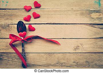 연인 날, 저녁 식사, 와, 테이블 조정, 에서, 시골풍, 나무, 치고는, 포도 수확, style.