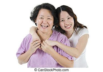 연장자, 어머니, 와..., 성인, 딸