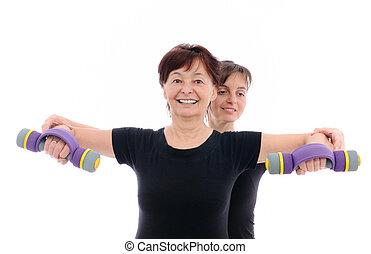 연장자 여자, 운동시키는 것, 와, 마차로 나르다