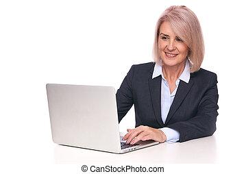 연장자 여자, laptop., 사업, 고립된