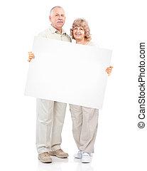 연장자, 행복한 커플, placard.