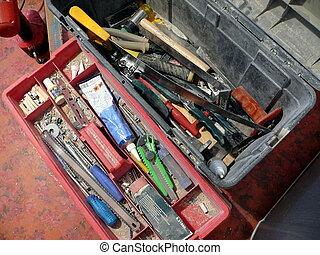 연장통, 와, 많은, 도구