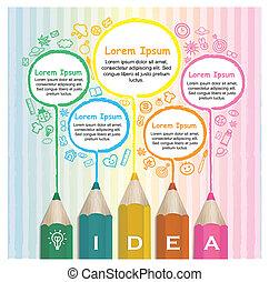 연필, 다채로운, 창조, infographic, 본뜨는 공구, 선화