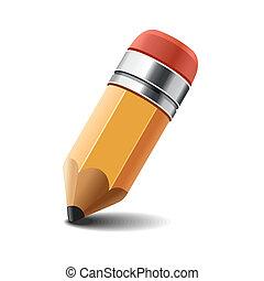 연필, 백색, vector., 배경.