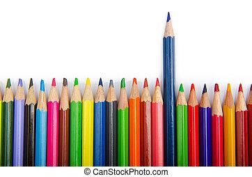 연필, 색, 개념, 독창성