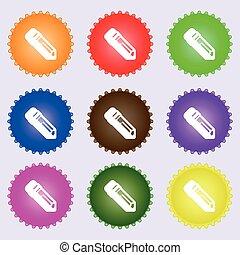 연필, 아이콘, 서명해라., a, 세트, 의, 9, 다른, 착색되는, labels., 벡터