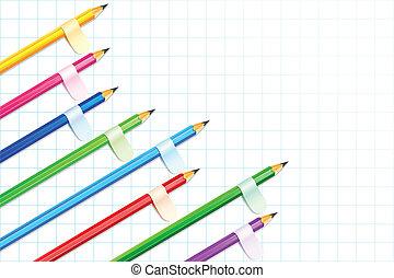 연필, 전시, 막대 그래프