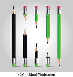 연필, 짧다, 세트, 길게
