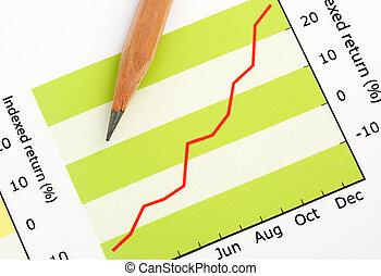 연필, 통하고 있는, 긍정적인, 소득, 그래프