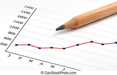 연필, 통하고 있는, 긍정적인, 소득, 도표