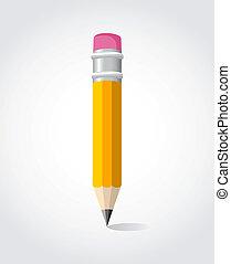 연필, 학교, 밀려서, 황색
