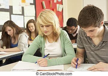 열대의, 학생, 공부, 에서, 교실