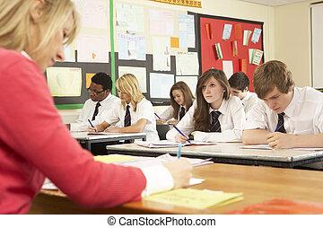 열대의, 학생, 공부, 에서, 교실, 와, 선생님