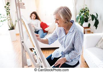 열대의, 할머니, 어머니, 소녀, home., 또는