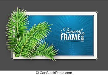열대적인, 기치, frame., 디자인, layout., 녹색, 손바닥, leaves., vector.