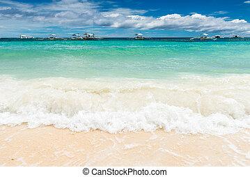 열대적인, 배경, 보이는 상태, 에서, paglao, 섬, 에, alona, 바닷가, 와, 전통적인, 보트, 파도, 그리고 푸른색, 하늘, 와..., 터키석 바다, 물, 여행, 휴가, 에, 필리핀