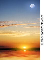 열대적인, 아름다운, 바닷가, sunset.