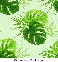 열대적인, 잎, 녹색
