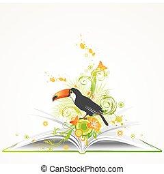 열대 꽃, 책, 열려라, 새