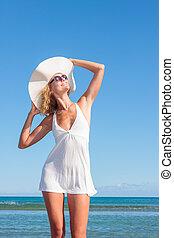 열대 바닷가, 백색, 명란한, 여자