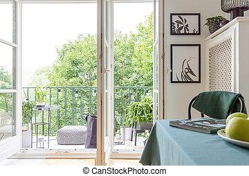 열린 문, 발코니, 와..., 포스터, 통하고 있는, 벽, 에서, 유행, 아파트, 실상의, 사진