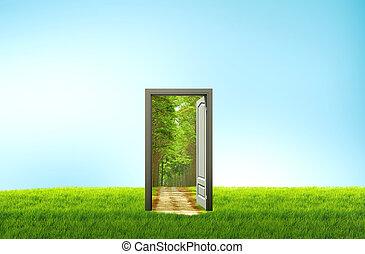열린 문, 통하고 있는, 녹색 분야, 치고는, 환경, 개념, 와..., 생각